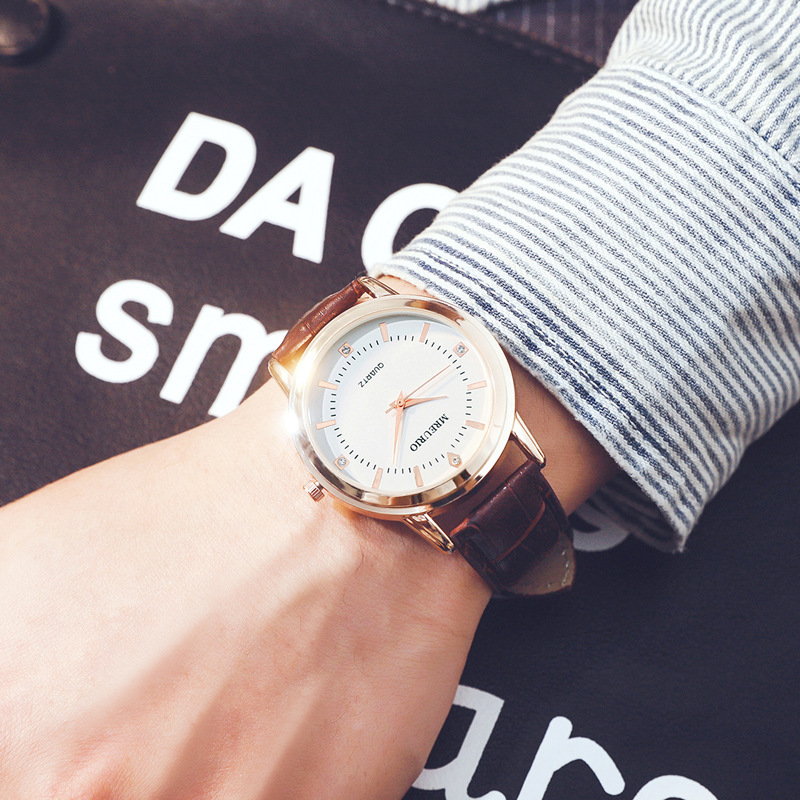 Pare Of Watches Leather Lover's Watch Simple Elegant Roman Numers Waterproof Couple Watch Gifts For Men Women Clock Montre Homme