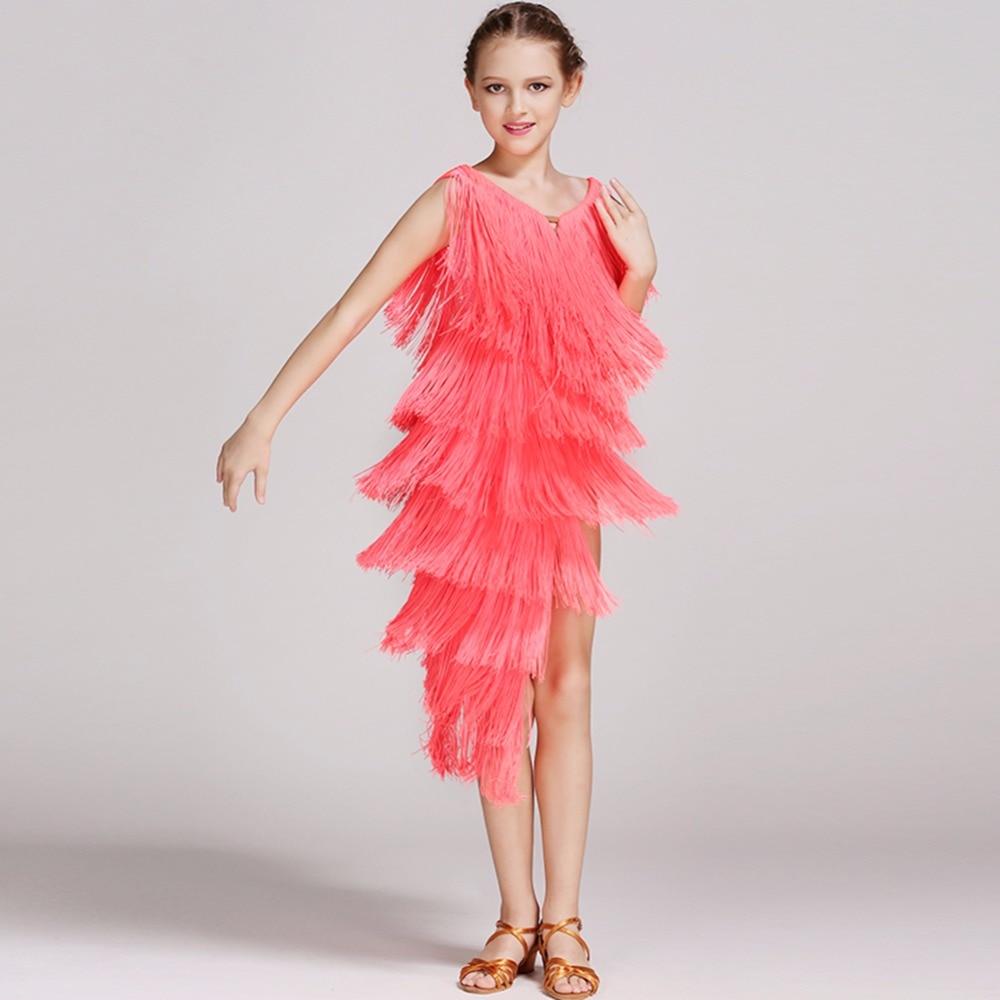 Latin Dance Dress Children With Hand sewing Stone Girls Dance Dress Kids Ballroom Dance Competition Rumba/Cha Cha/Tango Dresses
