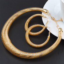 African Jewelry Set Punk Metal Spring Ring Earrings Necklace Alloy Collar Series Ladies Bridal
