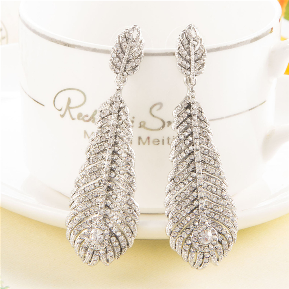 Christmas Gifts 67 Cm Luxurious Feather Earrings Bridal Statement