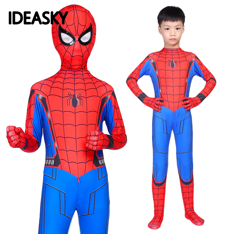 Kids Iron Marvel Legends Spiderman Homecoming Costume Spandex Zentai Spider Man The Amazing Spider-man Cosplay Suit Children Boy