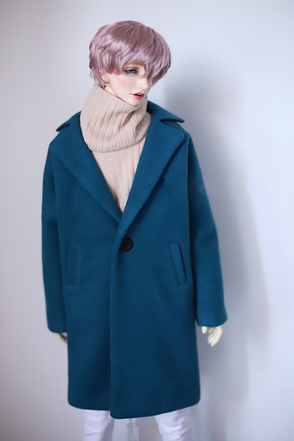 BJD doll clothes Lake blue wool coat for SD17 Uncle SSDF Ghost2 doll clothes doll accessory