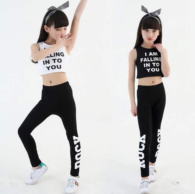Los niños Slim Hip Hop ropa Ropa de baile traje para niñas cultivo tanque  Tops polainas e114ef1452d
