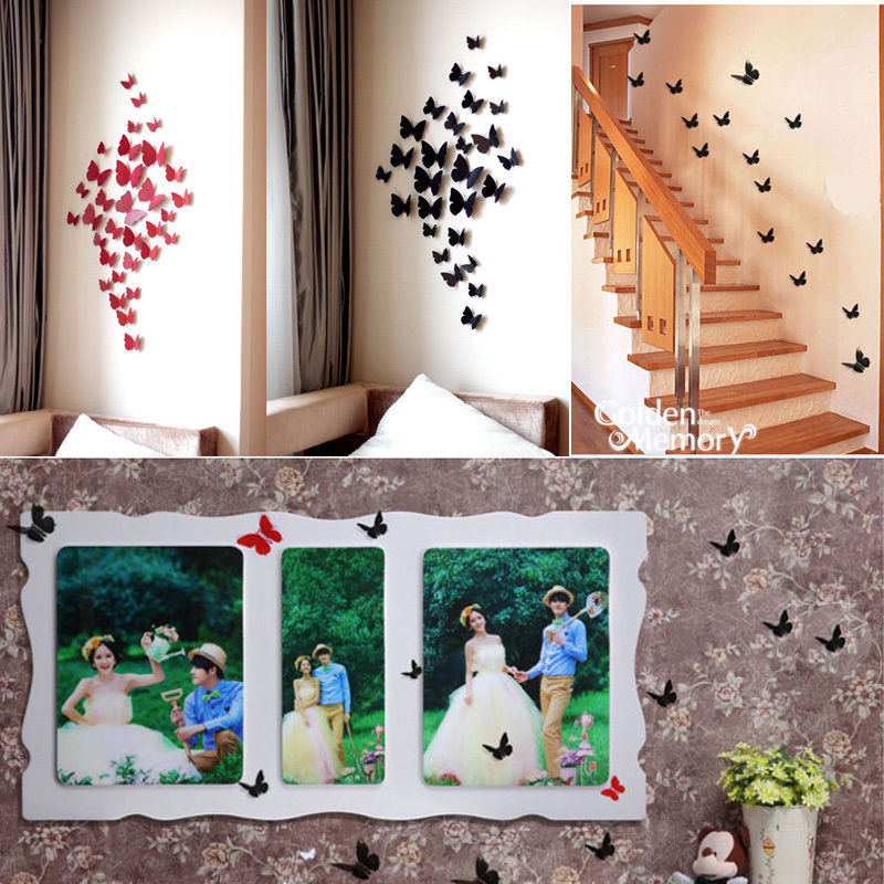 3D Wall Art Home Decorations 12 Pcs Decals Sticker On The Rooms Beauty  Butterfly DIY Decoration