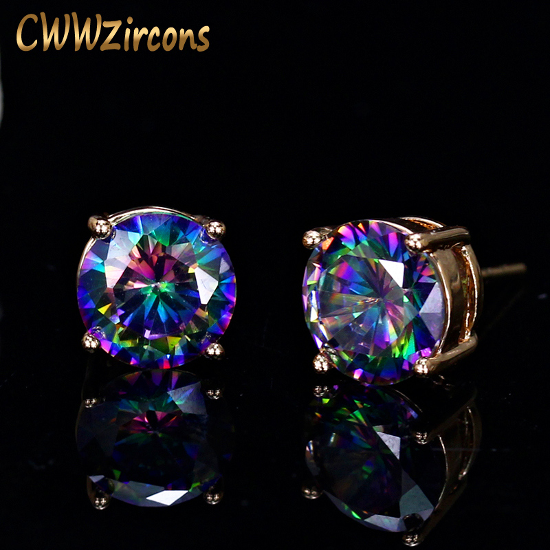 CWWZircons Unisex Fashion Brand Jewelry Classic 8mm Round Mystical Crystal Cubic Zirconia Stud Earrings For Women And Men CZ216