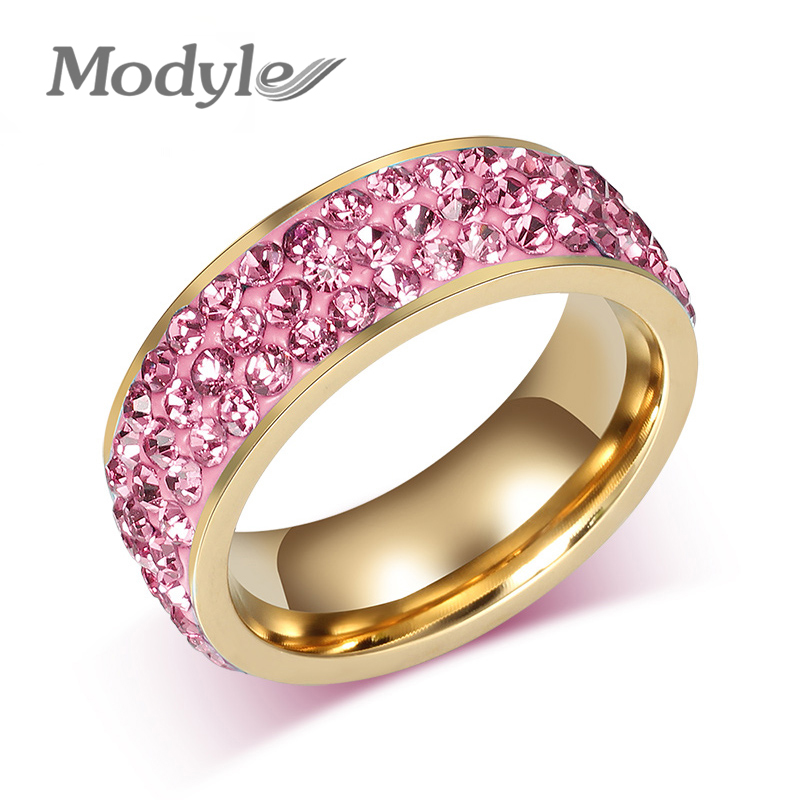 Modyle Fashion Women Crystal Rings Wholesale Gold Color Stainless