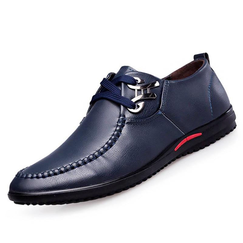 Mode marron Chaussures En D'été Hommes Couture Noir Fond bleu De Cuir Mâle Automne Mou cZqUWO4T5