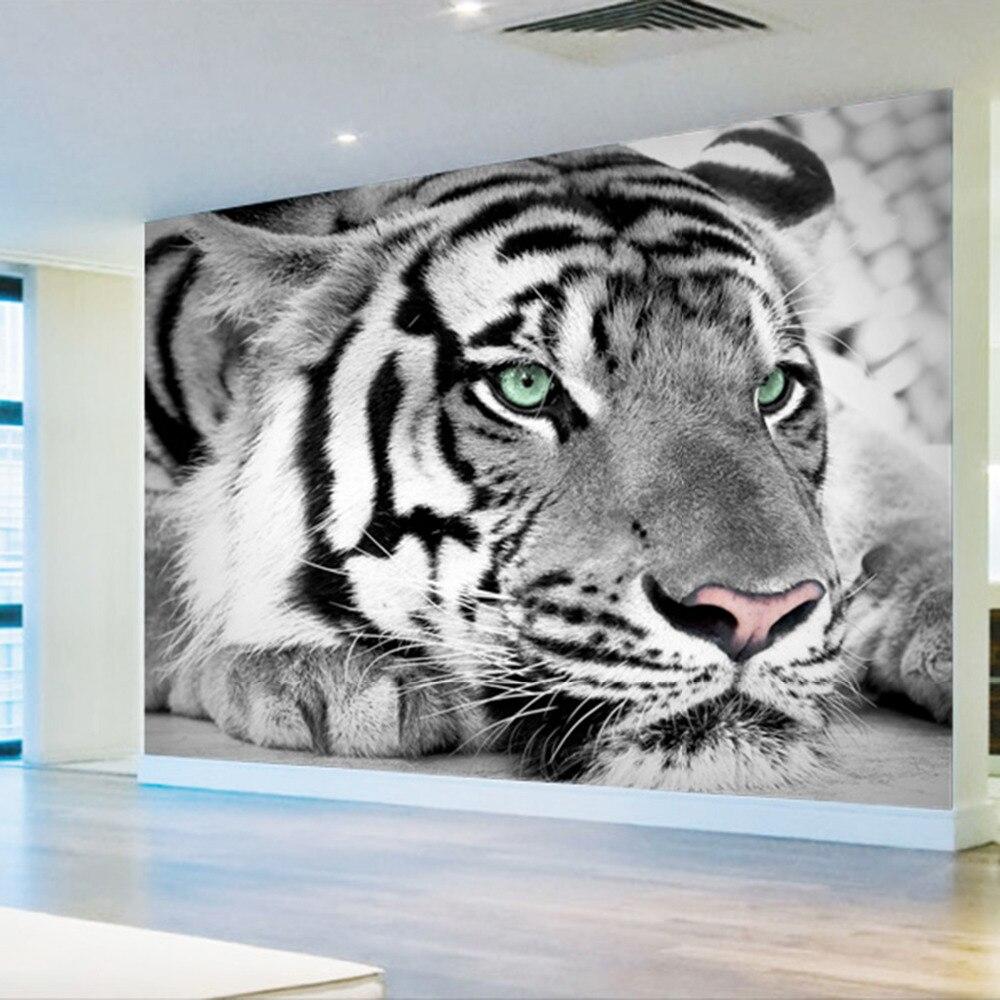 3d Foto Wallpaper Harimau Hitam Dan Putih Hewan Mural Masuk Kamar