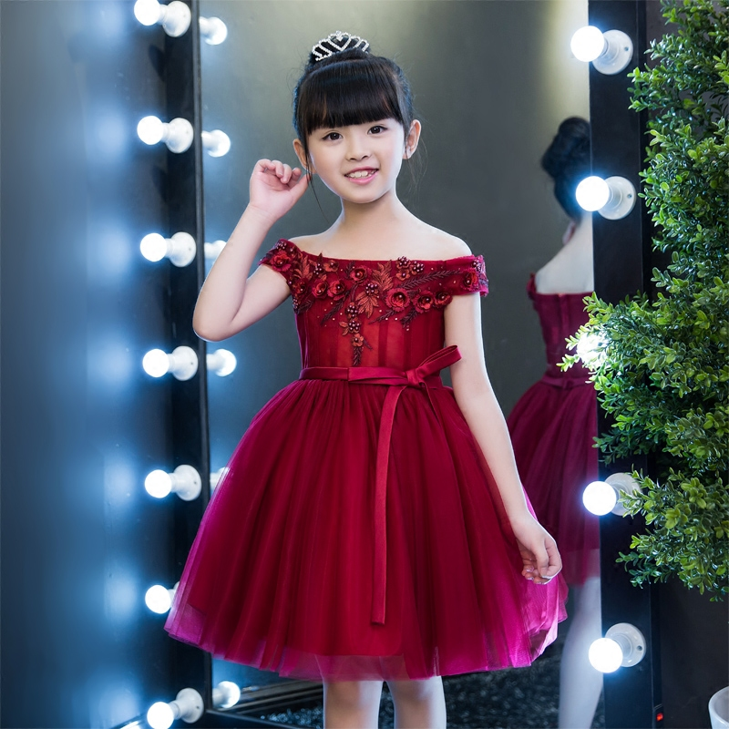 Wine Red Kids Pageant Dress Party Off the Shoulder Appliques Flower Girl Dresses Knee Length Ball Gown Princess Dress Belt B32 wine red lace up details off shoulder lantern sleeves mini dress