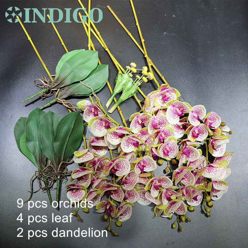 Image 2 - 15pcs/Set Flower Arrangment Orchids With Leaves Real Touch Flower