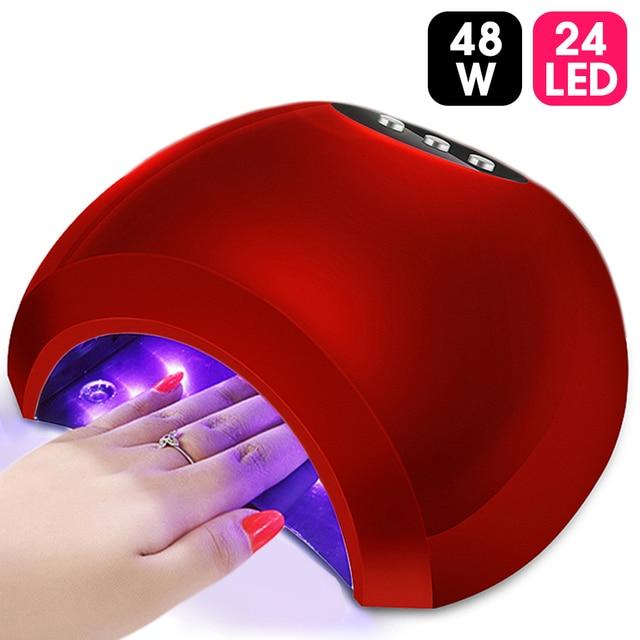 ViiNuro 48W lámpara UV Gel LED lámpara de uñas de alta potencia para uñas todo Gel esmalte Sensor de secador de uñas sol herramienta de manicura de Arte de uñas de luz Led
