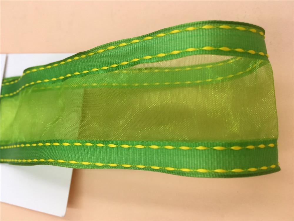 """NEW DIY 50 Yards 3//8/"""" Sizes Green Satin Edge Sheer Organza Ribbon Bow Craft"""