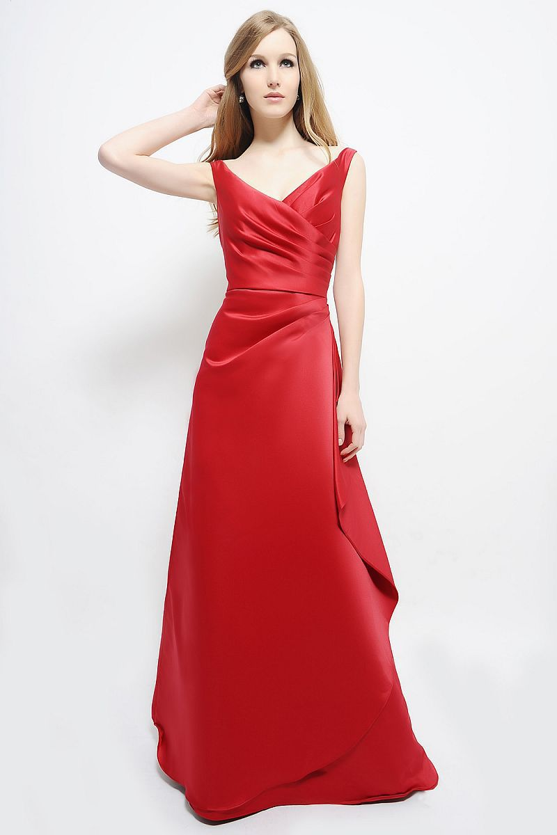 New Charming A-Line V-Neck Long Red Satin   Bridesmaid     Dress   Lace Up Prom Gown   Dress   Sleeveless Vestido De Noche Backless F2100