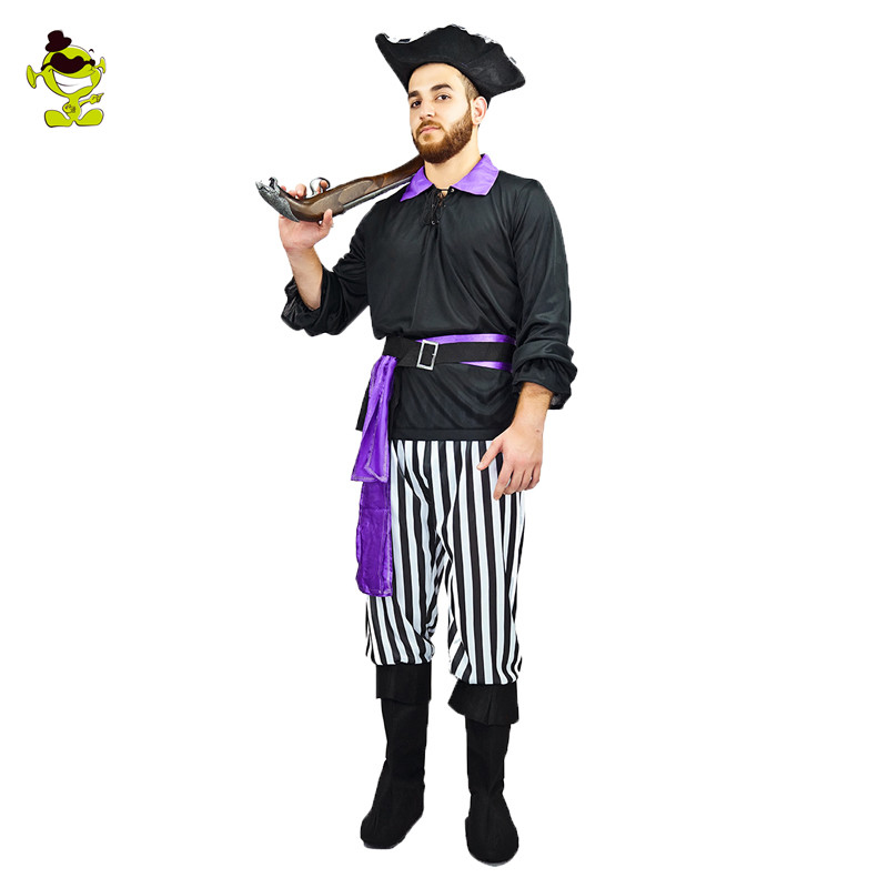 Hombres de La Venta caliente Dominante Fiesta de Disfraces de Halloween Disfraces de Piratas Buccaneer Cosplay Del Vestido de Lujo De Ropa para Adultos