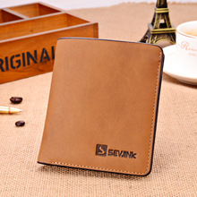 2015 new arrive Men short Wallets  scrub leather short wallet Purse famous brand Men Retro Wallet Card holder Coin Purse