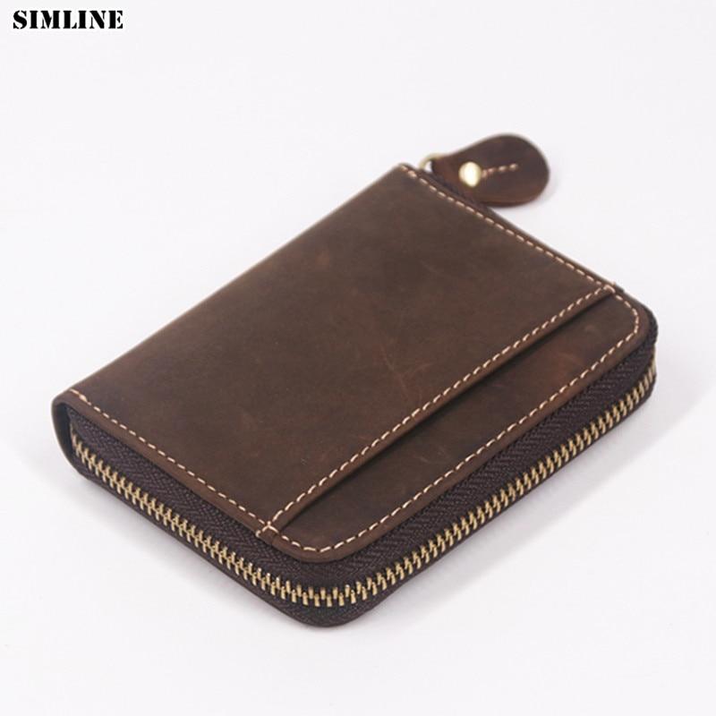 SIMLINE Genuine Leather Men Wallet Men's Vintage Crazy Horse Leather Small Zipper Wallets Coin Purse Pocket Card Holder Carteira