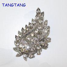 Retro Fashion Plant Rhinestone Silver Tone Wedding Crystal Shinning Brooches Vintage Style, Item NO.: BH7902B