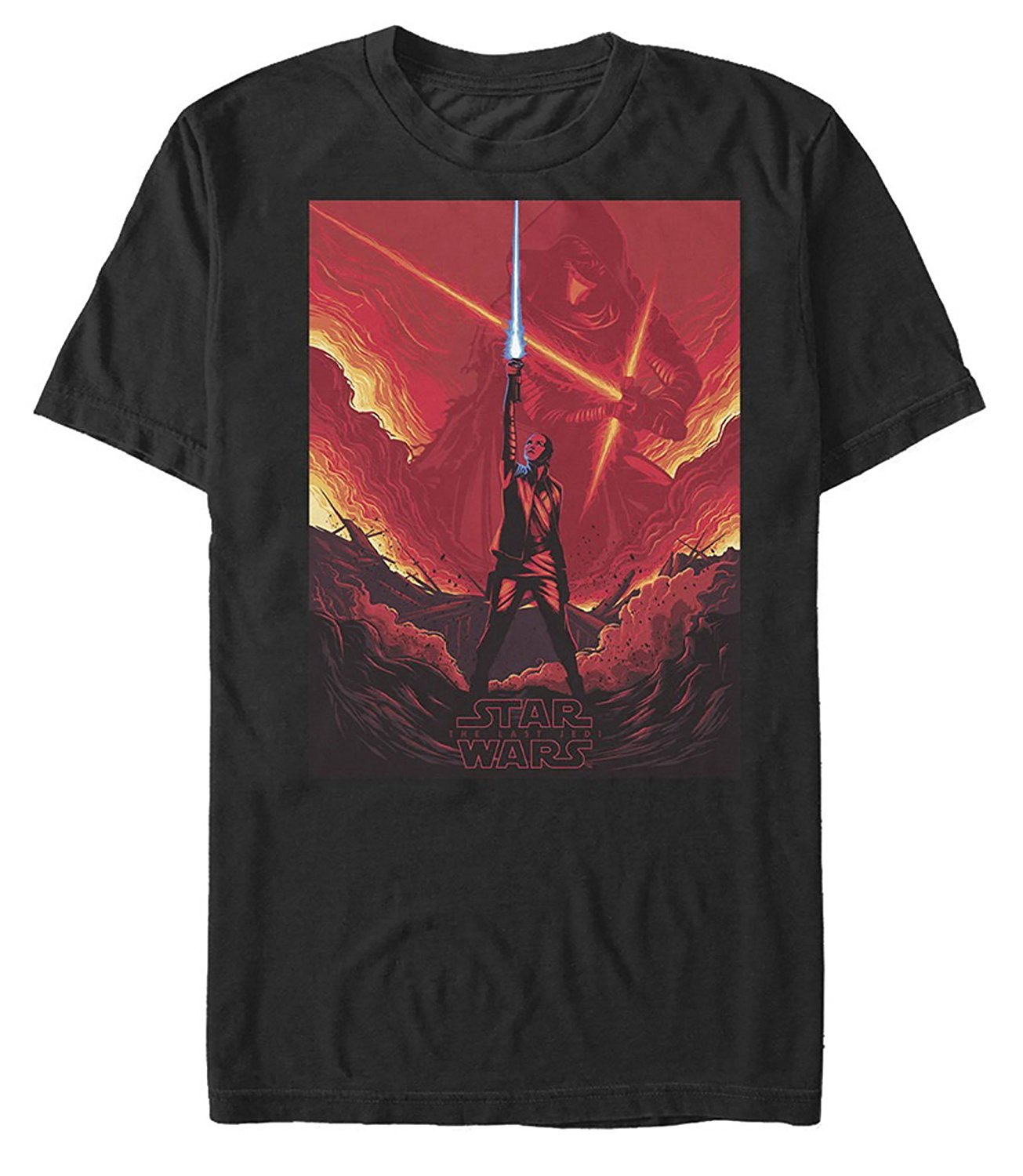 Star Wars The Last Jedi Rey Lightsaber Flames Mens Graphic T Shirt