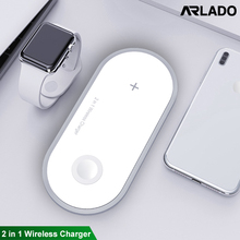 10W 2 in 1 Qi Wireless Charger For iPhone XS Max XR X Samsung Fast Wireless Charging Pad For iWatch 3 2 1 Desktop Charger