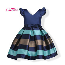 цена на Girls Summer Dress Kids Clothes Princess Party Wedding Pageant Dresses Fashion Baby Girls Stripe Dress 3 4 5 6 7 8 9 10 12 Years