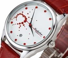 KASHIDUN. Women's Watches Fashion Dress Wrist Watch Luxury Red Diamonds Stainless Steel Case Leather Band Relogio Feminino-LOVE