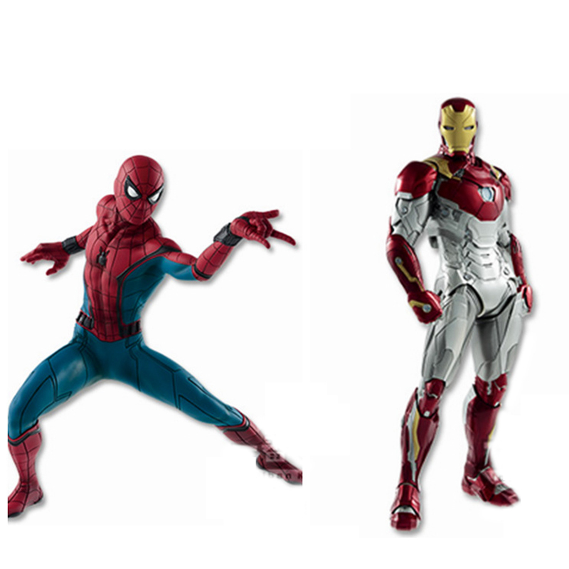Free Shipping 2pcs Cool Avengers Hero Homecoming Spiderman&Ironman MK47 Boxed PVC Action Figure Collection Model Toys Doll Gift new hot 17cm avengers thor action figure toys collection christmas gift doll with box j h a c g