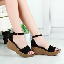 size 34-41 vintage women sandals genuine leather gladiator sandals women 6.5 cm high heels platform sandals summer wedge shoes