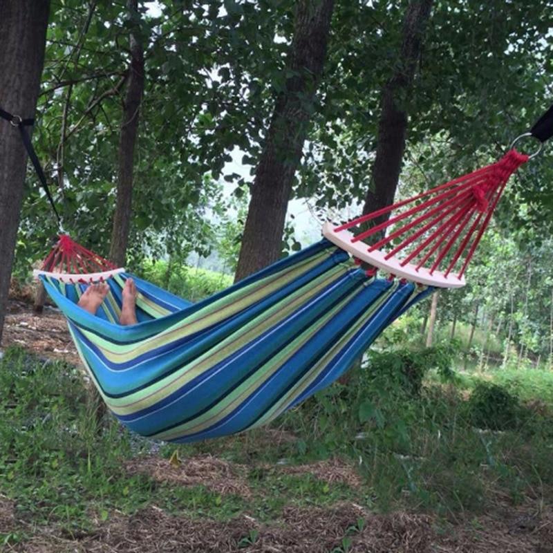 Thick Canvas Sleeping Hammock Steady Hardwood Spreader Bar Outdoor Garden Swing Bed Garden Backyard Traveling Beach Heavy Duty