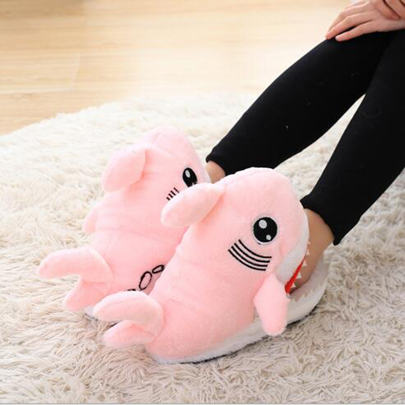 Winter Super Animal Funny Shoes For Men and Women Warm Soft Bottom Home&House Indoor Floor Shark Shape Furry Slippers Shallows 5