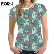 FORUDESIGNS Women T Shirt Maltese Printing Teenagers Cartoon Dog T-shirt Female Flower Pattern Tee for Girls Kawaii Tops