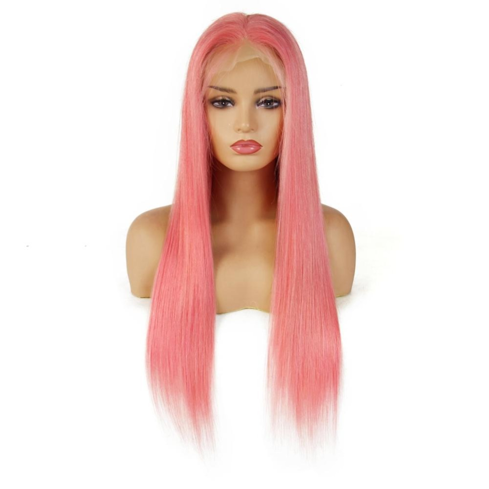Customized Lace Front Human Hair Wigs 13 4 Pink Human Hair Lace Frontal Wig Brazilian Straight Hair Wig For Black Women in Human Hair Lace Wigs from Hair Extensions Wigs
