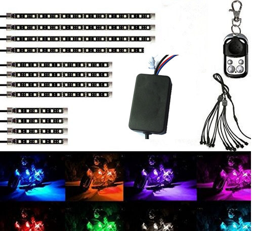 цены Car Motorcycle Led lights Wireless Remote Multi Color Neon Glow Lights RGB Flexible 12pcs Strips Ground Atmosphere Light