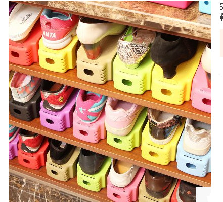 Plastic simple thicken adjustable one-piece double layer shoes small shoe storage hanger shoe care Creative household itemsPlastic simple thicken adjustable one-piece double layer shoes small shoe storage hanger shoe care Creative household items