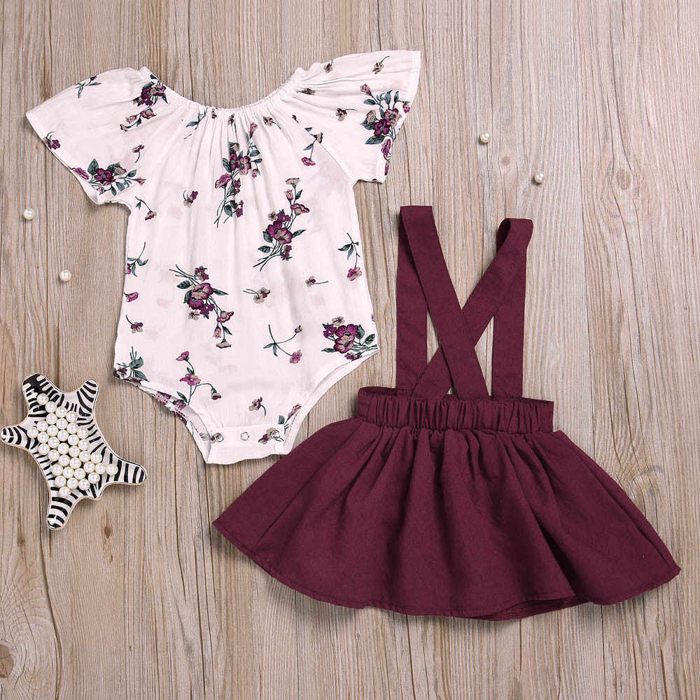 Summer 2PCS Infant Baby Girl Floral Rompers Jumpsuit Strap Skirt Outfits 1 Set