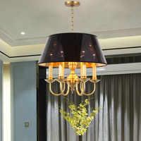 Kostenloser Versand Kupfer Anhänger Lampe Schwarz Schatten Bronze Hängen Kronleuchter Beleuchtung Für wohnzimmer und Restaurant Home Dekoration