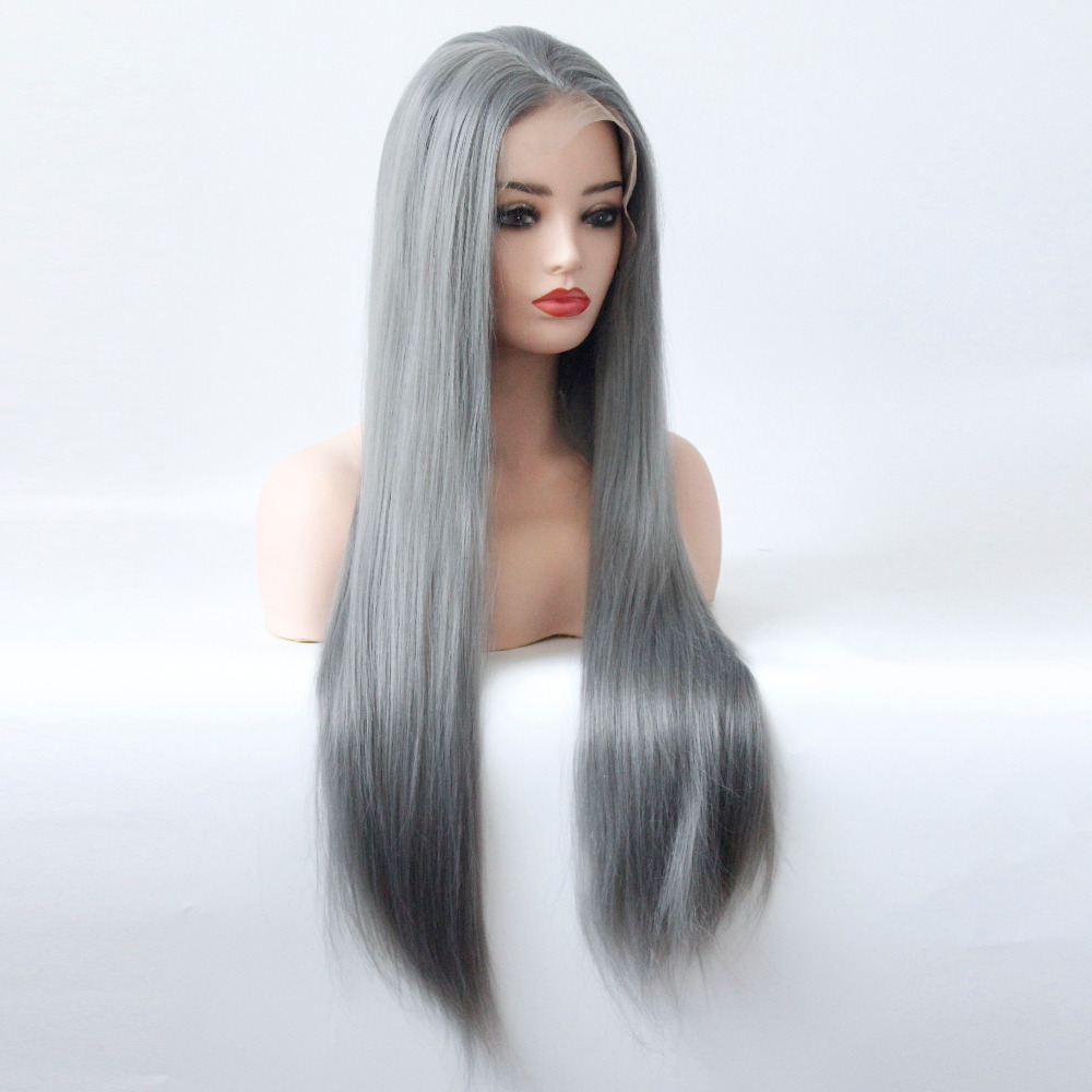 Long Gray Straight Synthetic Lace Front Wig Dark Grey Soft Natural Hairline Heat Resistant Glueless Synthetic Hair Wigs-11