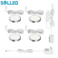 SOLLED Set Of 4 Under Cabinet Light Kit 18LEDs Puck Lamp Three Colors For Under Kitchen