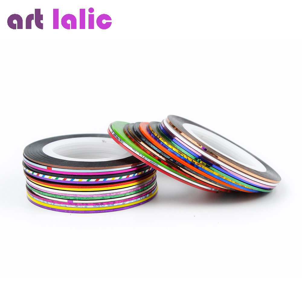 New 32 Colors Roll Striping Tape Line Metallic Yarn Nail Art Tips Decoration Nail Stickers Decals Foil DIY 8pcs vinyl nail sticker scrub striping tape liner nail art tips decoration diy manicure nail decals strips roll mix colors 1 3mm