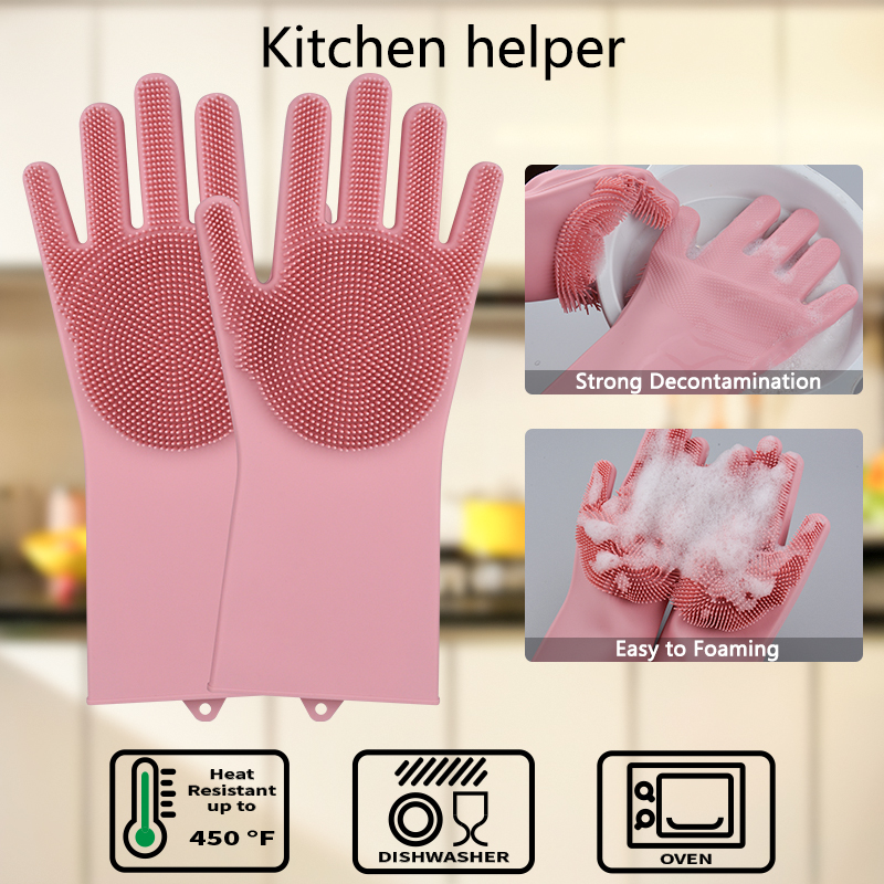 Silicone Dishwashing Gloves Bathroom Kitchen Cleaning Gloves Housework Magic Gloves Cleaning For House Insulation Tools 5