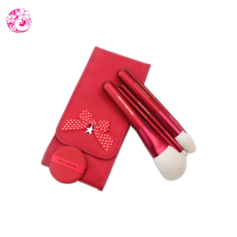 ENERGY Brand Professional 5pcs Makeup Goat Hair Brush Set Make Up Brushes Bag Brochas Maquillaje Pinceaux