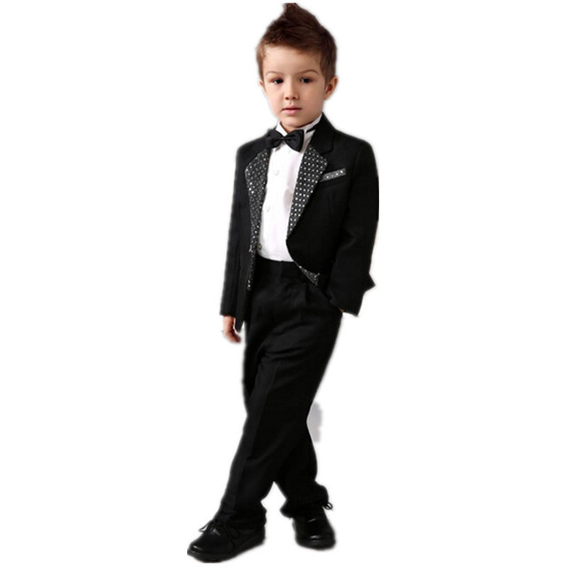 Luxurious black Ring Bearer Suits cool Boys Tuxedo Sequins Black Bow ...