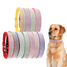 Bling Rhinestone Puppy Cat Collars Adjustable Leather Collar For Small Medium Dogs Cats Chihuahua Pug Yorkshire