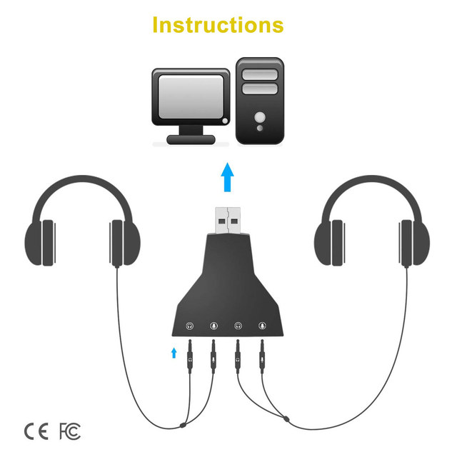 Ingelon USB Sound Adapter External Stereo Sound Adapter Virtual 7.1 Channel Double Microphone/Headset Port Plug and Play Gadgets 5