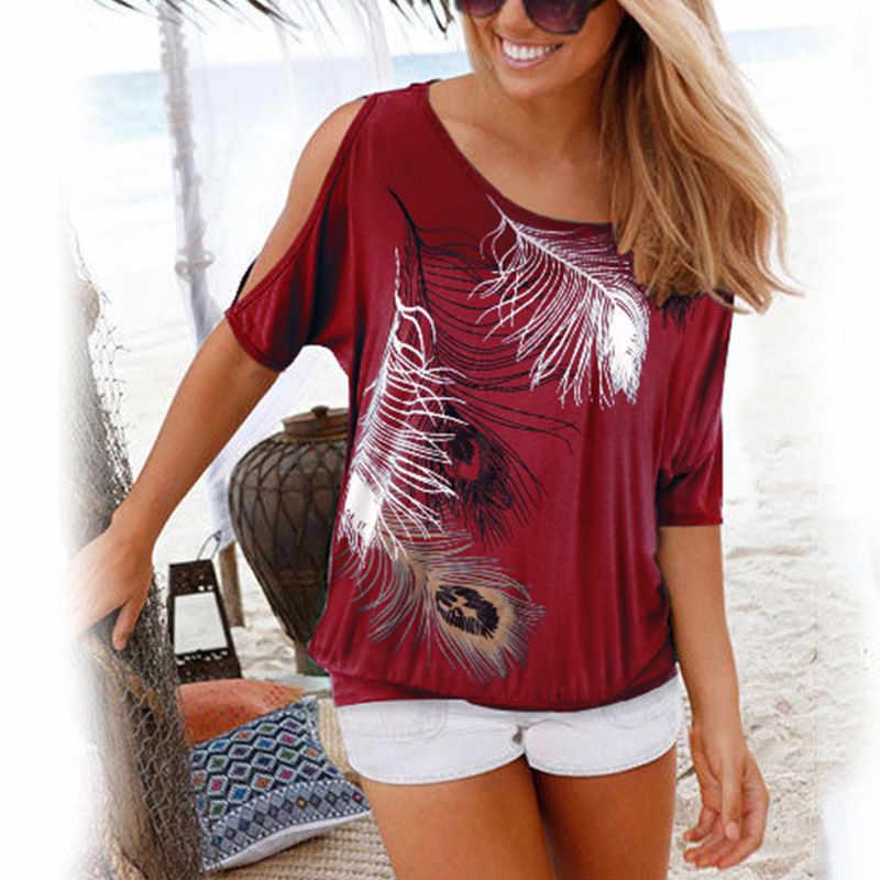 女性半袖ブラウス新夏 2019 カジュアル O ネックシャツルーズスタイルセクシーなオフショルダーファッションプリントブラウスプラスサイズ s-5XL