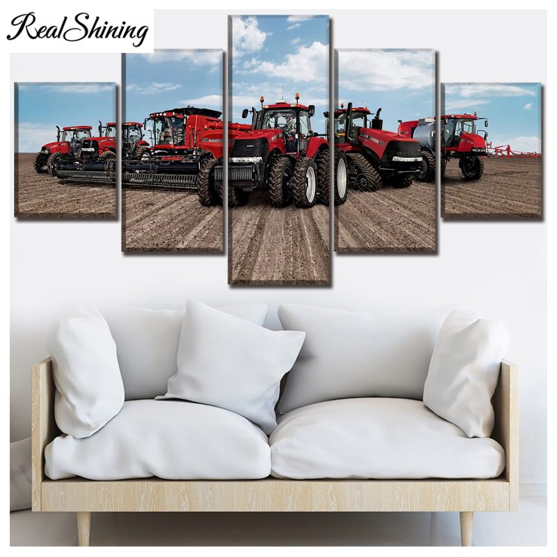 Tractor diy diamond painting diamond Pictures 5pcs Red Felling Machine full diamond embroidery sale mosaic wall art FS5864