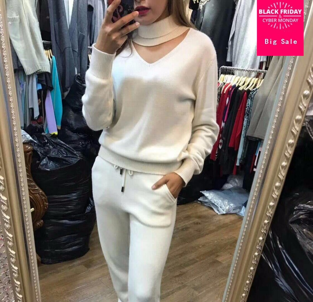 Winter Hollow Cut Woolen And Cashmere Knitted Warm Suit Wool Sweater + Mink Cashmere Trousers Leisure Two-piece Suits Wj1558
