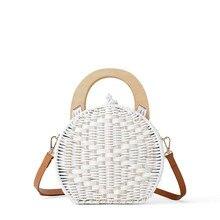 women handbags rattan woven bags new white straw shoulder bag portable summer beach handmade purse hard Circular