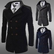 2016 зима шерстяной верхняя одежда тонкий пиджак двубортный мужчин пальто casaco мужской средней длины траншеи пальто мужской М-3XL
