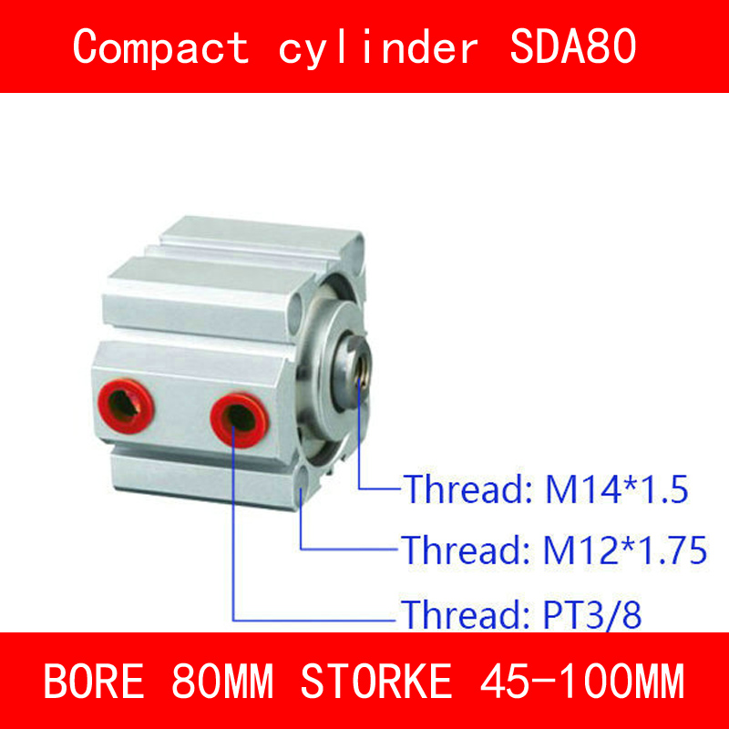 CE ISO SDA80 Cylinder Magnet Compact SDA Series Bore 80mm Stroke 45-100mm Compact Air Cylinders Dual Action Air Pneumatic