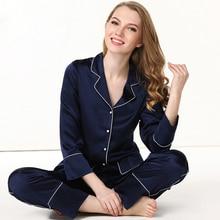19 Mumi Heavy Silk Womens Pajamas 100% Silkworm Sleepwear Pure Color Long-Sleeve Pyjama Pants Two-Piece Sets T8136